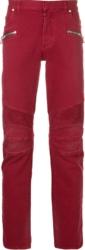 Balmain Red Biker Jeans