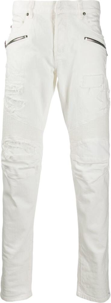 Balmain White Zip Pocket Biker Jeans