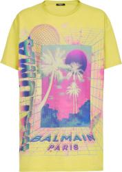 Balmain Yellow And Neon Palm Tree Logo Print T Shirt