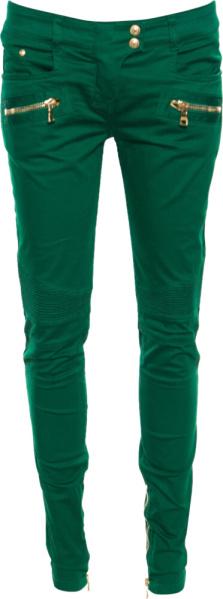 Balmain Zip Detail Green Biker Jeans
