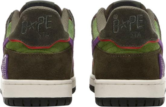 Bape Bapesta Sk8 Dark Green Suede And Purple Sneakers