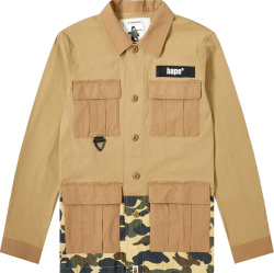 Bape Beige And Camo Field Overshirt Jacket