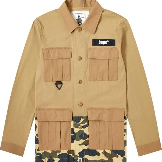Bape Beige And Camo Field Overshirt Jacket