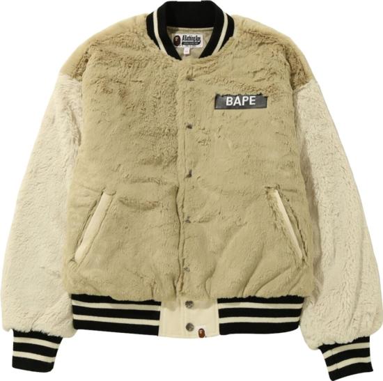 Bape Beige Fur Bomber Jacket