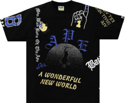 Bape Black And Allover Multi Logo Print T Shirt