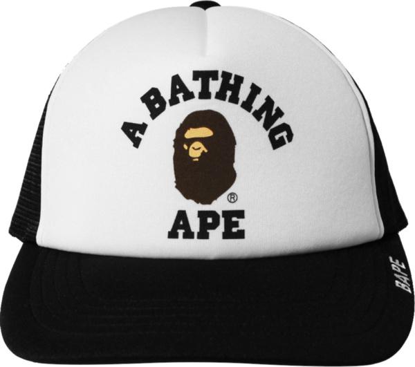 Bape Black College Logo Trucker Hat