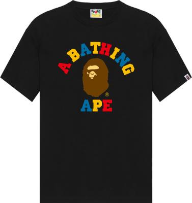 Bape Black Colors College Logo T Shirt