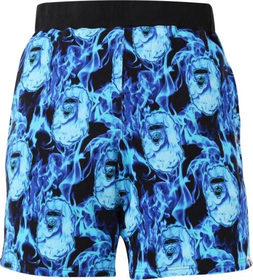 Bape Blue Flame Ape Head Shorts