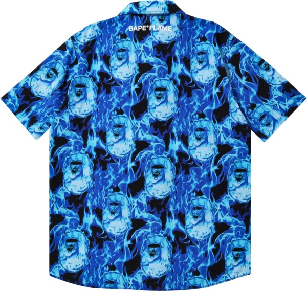 Bape Blue Flame Collar Shirt
