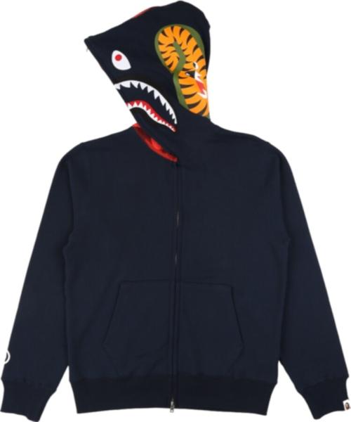 Bape Blue Full Zip Shark Hoodie