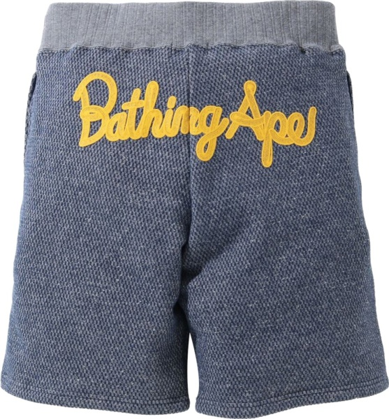 Bape Blue Logo Embroidered Shorts
