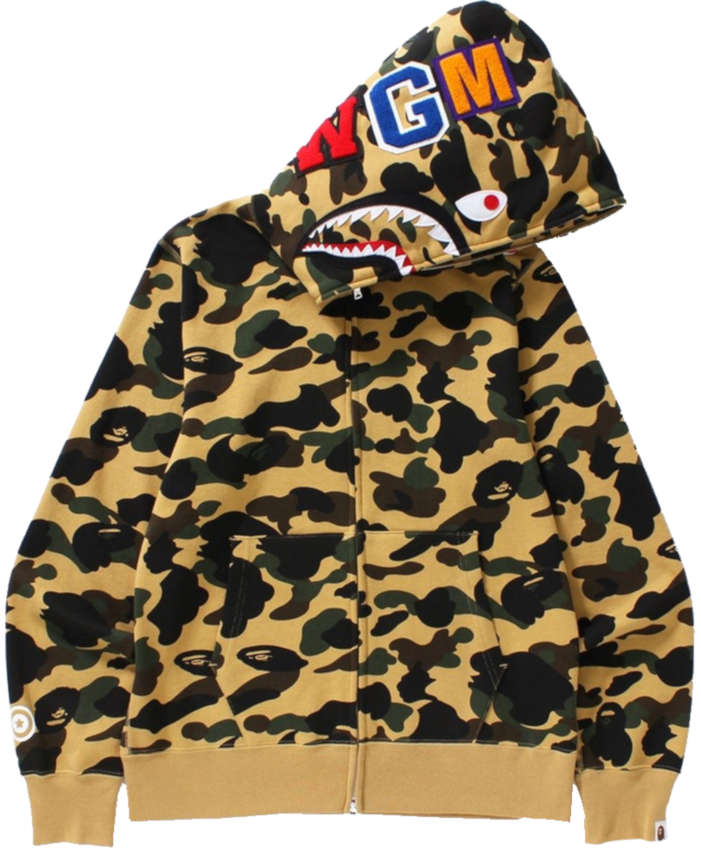 Bape Frist Camo Yellow Shark Hoodie Worn By Dababy