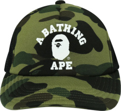 Bape Green 1st Camo College Logo Print Trucker Hat