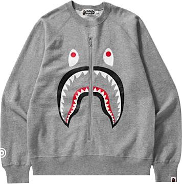Bape Grey Shark Face Zip Sweatshirt