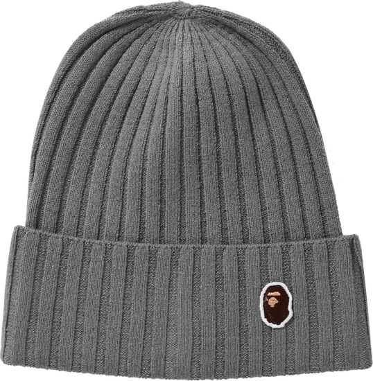Bape Grey Wide Ribbed One Point Beanie
