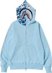 Light Blue 'ABC' Camo Zip Hoodie