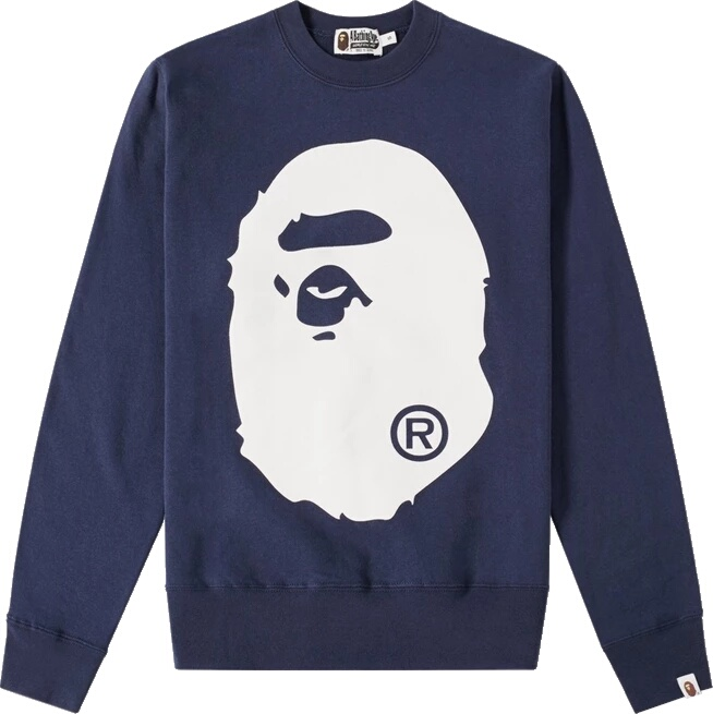 Bape Navy Big Head Crewneck