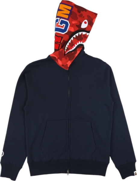 Bape Navy Zip Up Shark Hoodie