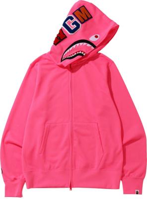 Bape Neon Pink Shark Print Hoodie