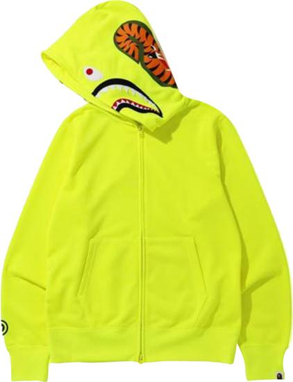 Bape Neon Yellow Full Zip Hoodie