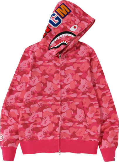 Bape Pink Fire Camo Shark Zip Full Hoodie