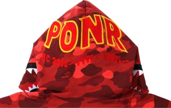 Bape Ponr Red Camo Shark Hoodie