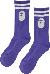 Bape Purple Ape Head Socks