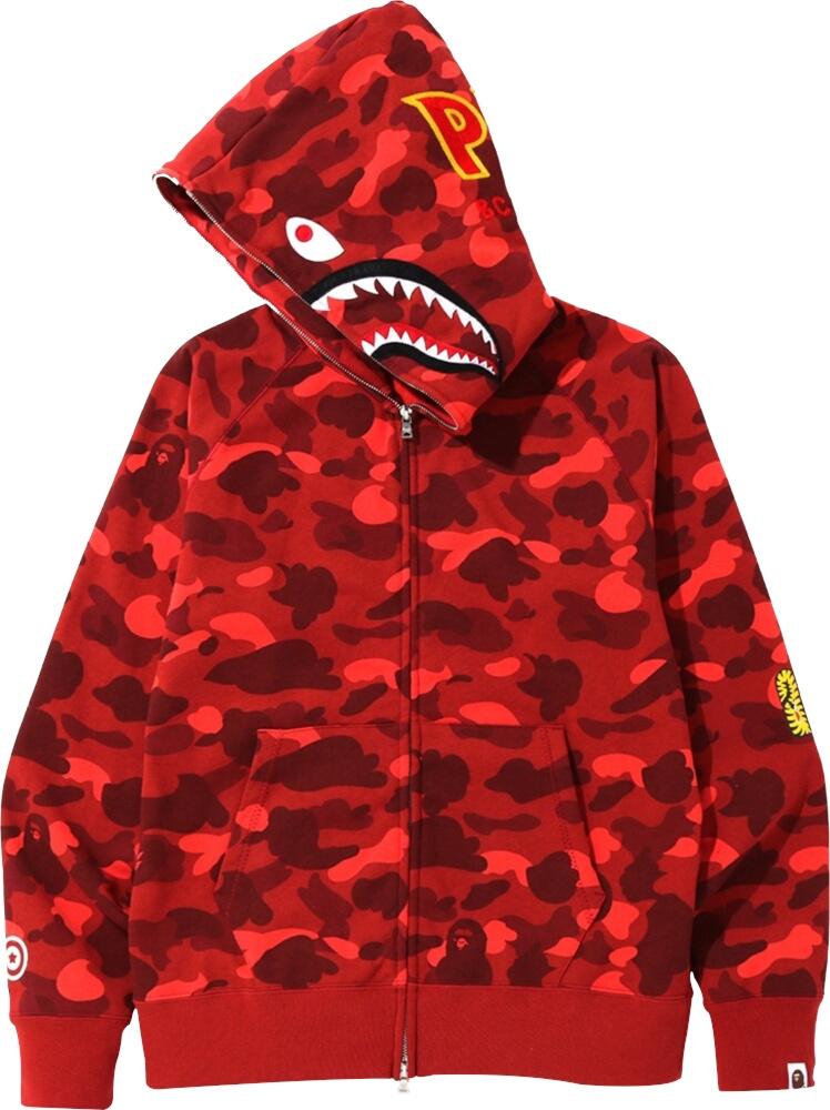 Bape Red Camo Shark Ponr Hoodie