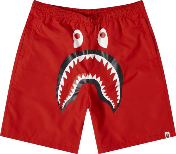 Bape Solid Red Shark Swim Shorts