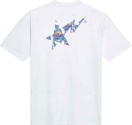 Bape Sta Lightning Print White T Shirt