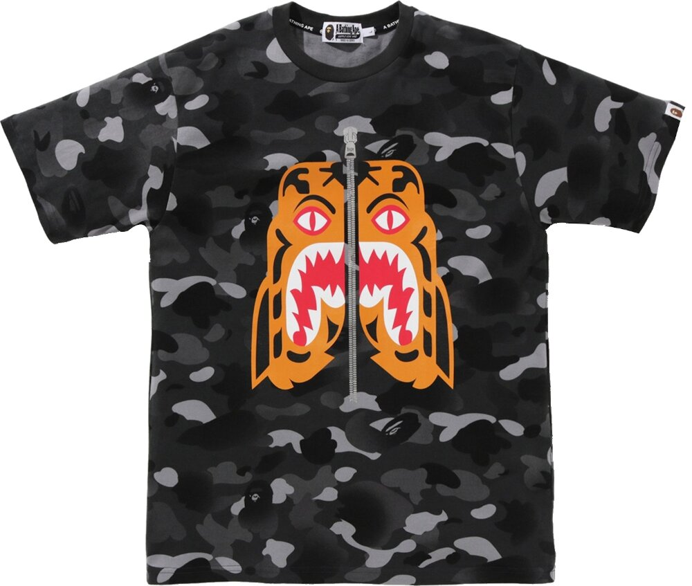 Bape Tiger Print Black Camo T Shirt