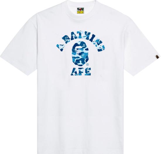 Bape White And Light Blue Color Camo College Logo T Shirt