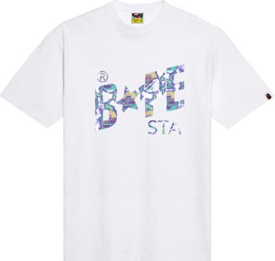 Bape White Lightning Print Bape Sta T Shirt