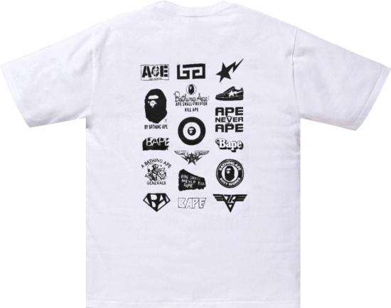 Bape White Multi Logo T Shirt
