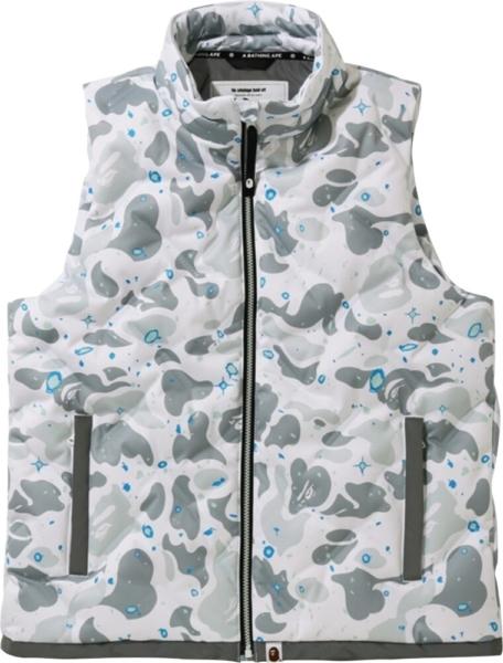 Bape White Space Camo Puffer Vest