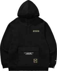 Bape X Alpha Industries Black Logo Hoodie