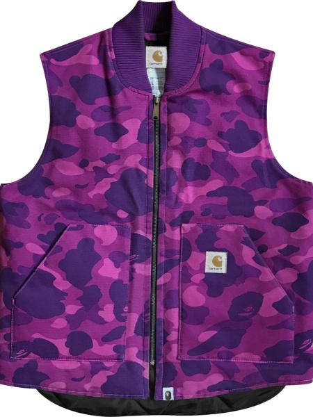 Bape X Carhartt Purple Camo Vest