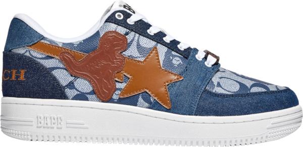 Bape X Coach Blue Denim Low Top Sneakers