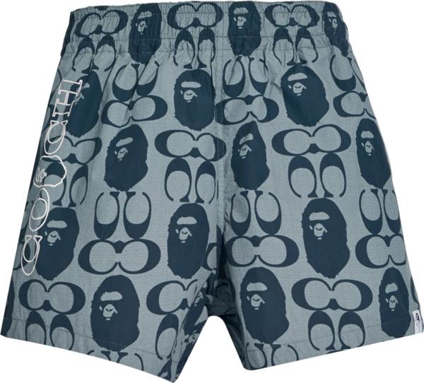 Bape X Coach Blue Monogram Shorts