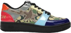 Bape X Coach Multicolor Patent Leather Camo And Black Bapesta Sneakers