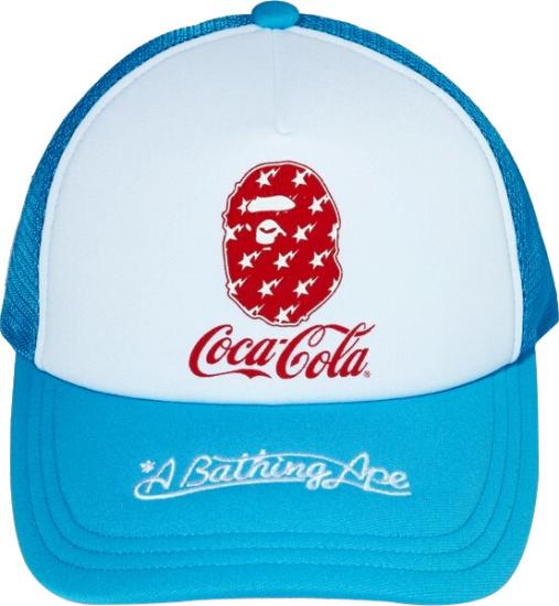 Bape X Coca Cola Light Blue Trucker Hat