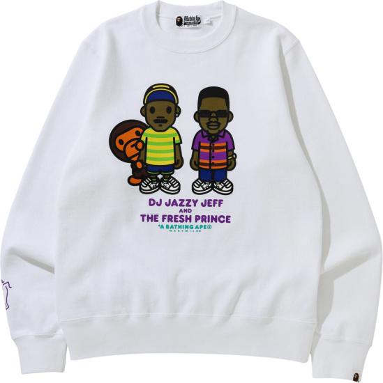 Bape X Fresh Prince Of Belair White Sweatshirt