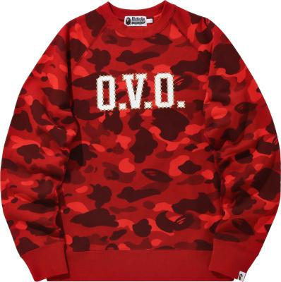 Bape X Ovo Red Color Camo Crewneck Sweatshirt