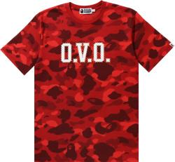 Bape X Ovo Red Color Camo Logo T Shirt