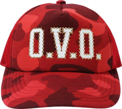 Bape X Ovo Red Color Camo Mesh Hat