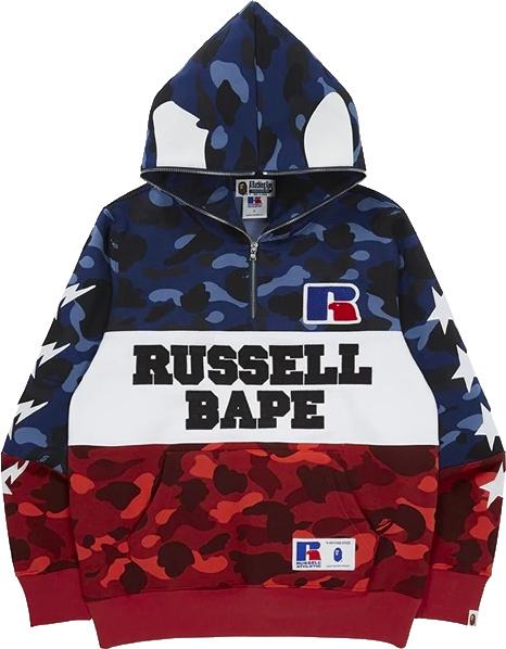 Bape X Russell Colorblock Color Camo Half Zip Hoodie