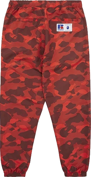 Bape X Russell Red Color Camo Track Pants