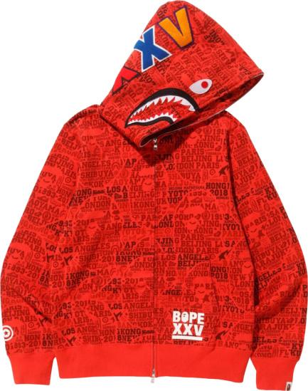 Bape Xxv City Camo Red Zip Hoodie