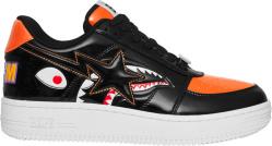 Bapesta Low Patent Black And Orange Shark Sneakers