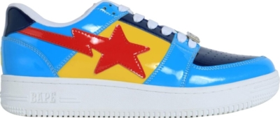 Bapesta Patent Red Yellow And Blue Sneakers